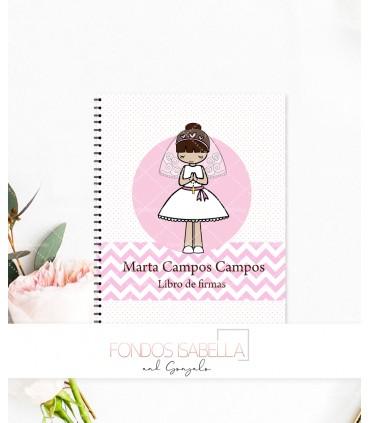 Libro de firmas de Primera Comunión niña topitos rosas