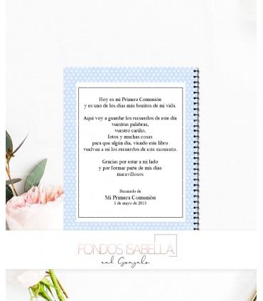 Libro de firmas de Primera Comunión niña topos azules