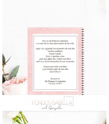 Libro de firmas de Primera Comunión niña diadema flor