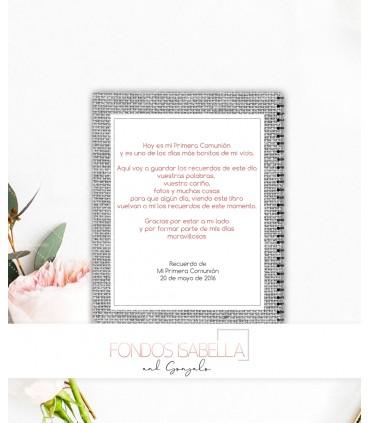 Libro de firmas de Primera Comunión niña gris