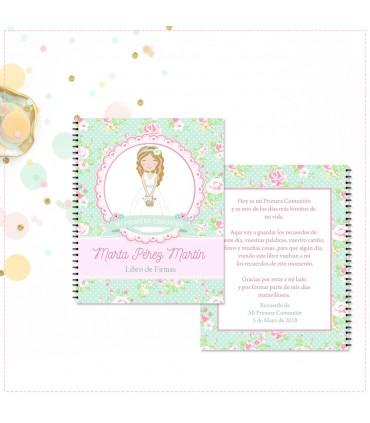 Libro de firmas de Primera Comunión niña cestita de flores