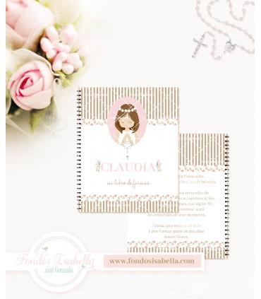 Libro de firmas de Primera Comunión niña conejitos