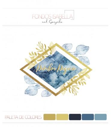 Logo vintage flores azul y oro