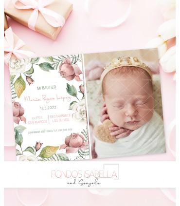 Invitación de bautizo flores blancas y rosas para niña