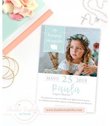 Invitación de comunión verde agua personalizada con foto para niña
