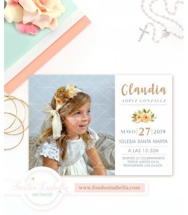 Invitación de comunión dorada personalizada con foto para niña