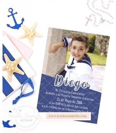Invitación de comunión marinero azul personalizada con foto para niño
