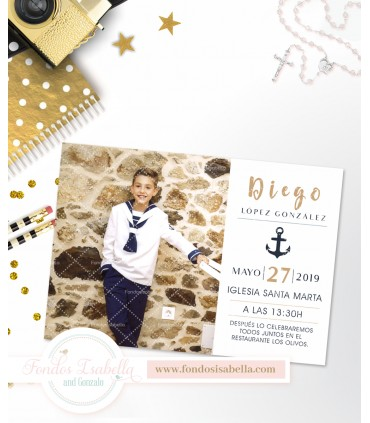 Invitación de comunión dorada personalizada con foto para niño