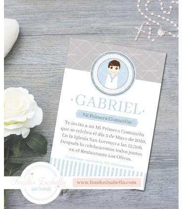 Invitación de comunión gris y azul para niño
