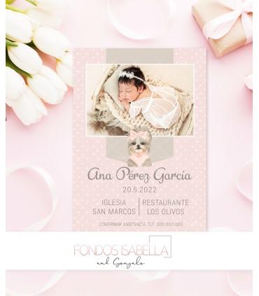 Invitación de bautizo rosa con topitos blancos para niña