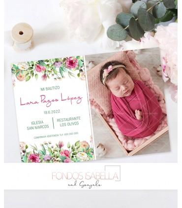 Invitación de bautizo con flores personalizada con foto para niña