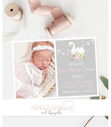 Invitación de bautizo de cisne con corona personalizada con foto para niña
