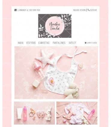 Tienda online infantil rosa y hojas