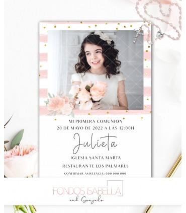 Invitación Primera Comunión niña rosa y oro