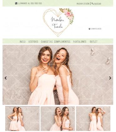 Tienda online elegante moda chica love rosa y oro más logo