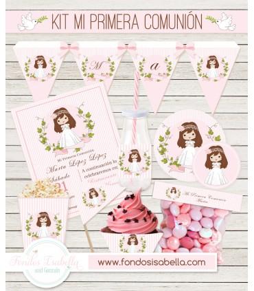 Kit imprimible mesa dulce Primera Comunión niña rosa y flor verde