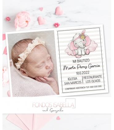 Invitación bautizo niña elefante rosa