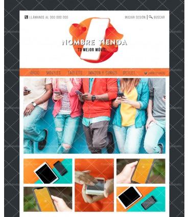 Tienda online barata para venta de móviles naranja y negro