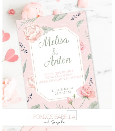 Invitación Primera Comunión niña romántica