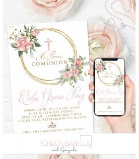 Invitación boda barata watercolor oro