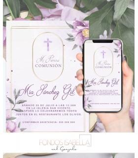 Invitación boda barata elegante en verde y oro rosa