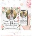 Invitaciones baratas de boda elegante marmol y azul