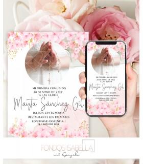 Invitación boda barata watercolor elegante