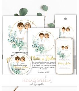 Invitación boda barata watercolor
