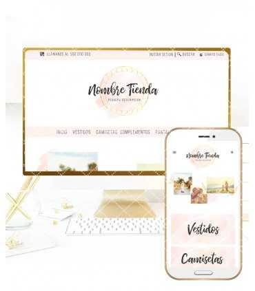 Tienda online elegance rosa y oro nube mas logotipo