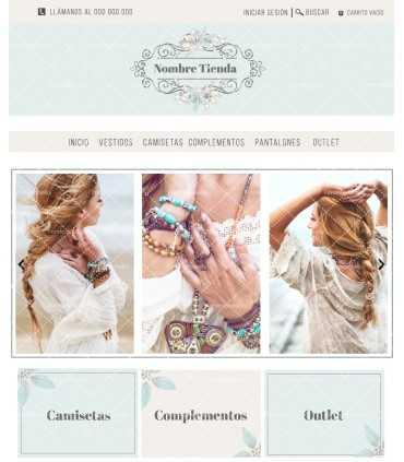 Tienda online elegance verde agua y blanco roto flores mas logo