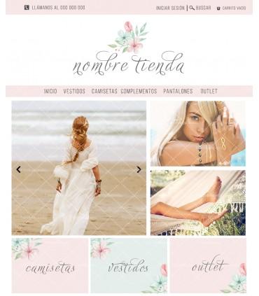 Tienda online elegance shabby chic verde y rosa flor mas logotipo