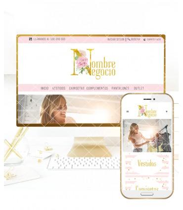 Tienda online elegance letra oro y flor mas logo