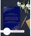 Invitación de Boda romántica en azul marino y oro rosa.