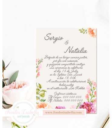 Invitación de Boda romántica flores de campo