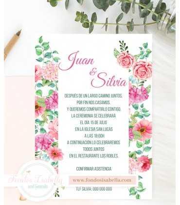 Invitación de Boda romántica elegante rosas love