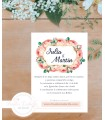Invitación de Boda romántica marco oro y rosas melocotón