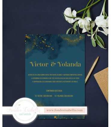 Invitación de Boda romántica noche verde y oro