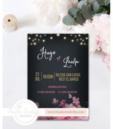 Invitación de Boda elegante noche flores