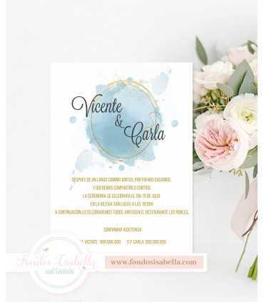 Invitación de Boda romántica stilo boho oro y celeste