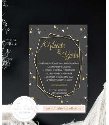 Invitación de Boda romántica gris love oro