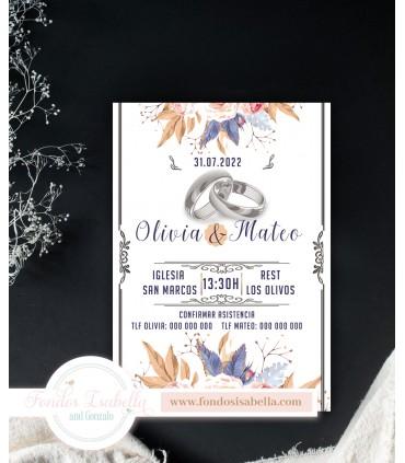 Invitación de Boda romántica alianzas