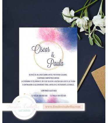 Invitación de Boda boho azulón y rosa