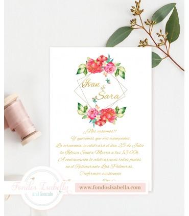 Invitación de Boda romántica catalina