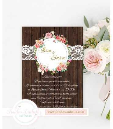Invitación de Boda romántica madera y gran puntilla