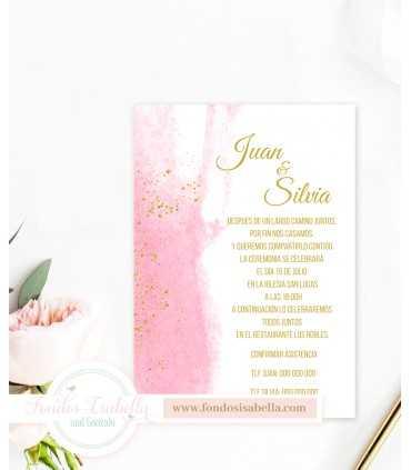 Invitación de Boda stilo boho agua rosa y oro