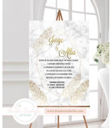 Invitación de Boda romántica mármol gris y oro