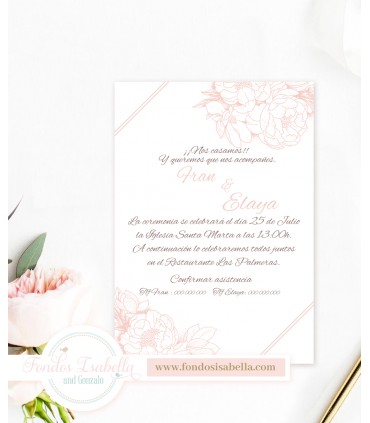 Invitación de Boda elegante silueta rosada