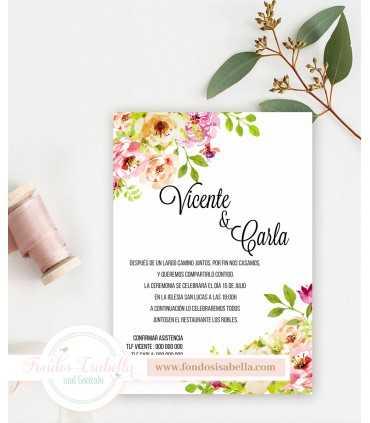 Invitación de Boda romántica primavera