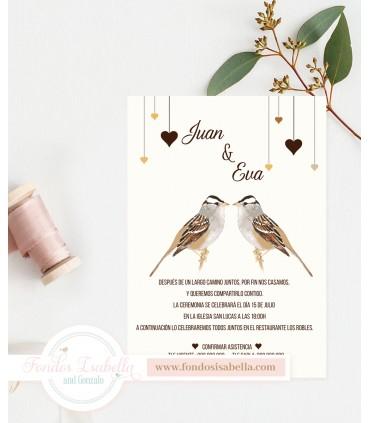Invitación de Boda romántica bird
