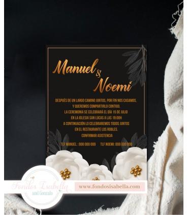 Invitación de Boda elegante negro y oro anaranjado